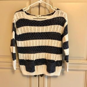 Carlson blue cream striped sweater XS